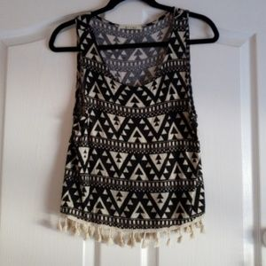 Black & Cream High Low Aztec Top with Tassels